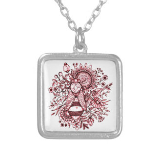 Bee 2 silver plated necklace