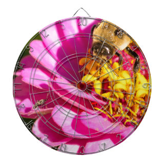 bee and bug standing on a purple flower dartboard