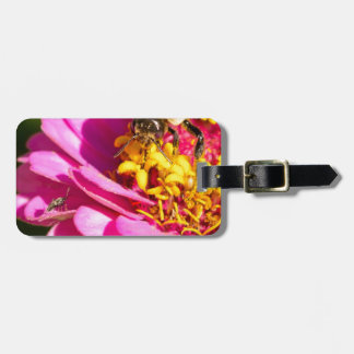 bee and bug standing on a purple flower luggage tag