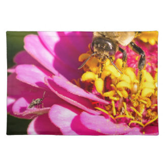 bee and bug standing on a purple flower placemat