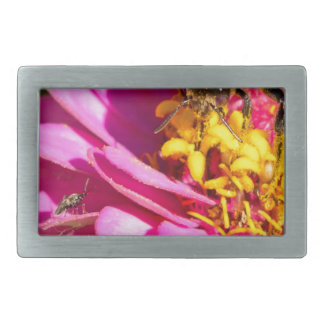 bee and bug standing on a purple flower rectangular belt buckle