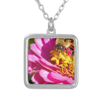 bee and bug standing on a purple flower silver plated necklace