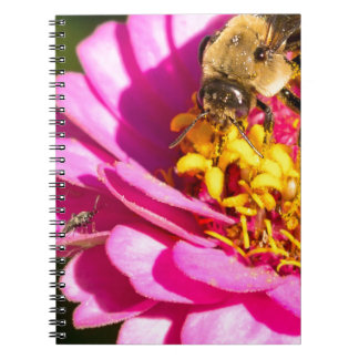 bee and bug standing on a purple flower spiral notebook