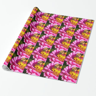 bee and bug standing on a purple flower wrapping paper