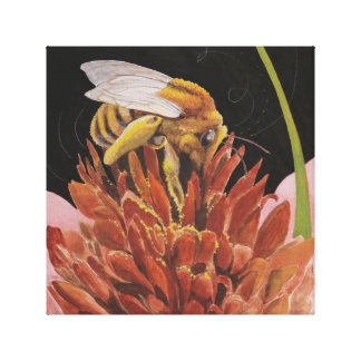 Bee and Clover Canvas Print