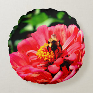 Bee and Coral  Zinnia Round Pillow