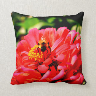 Bee and Coral Zinnia Throw Pillow