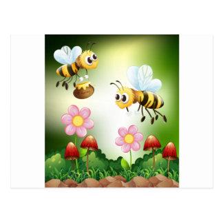 Bee and honey postcard
