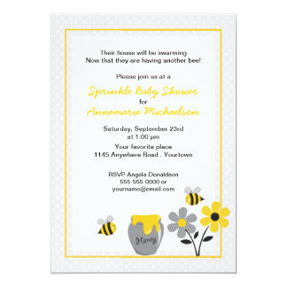 """Bee and Honey Sprinkle Baby Shower Invitation 5"""" X 7"""" Invitation Card"""