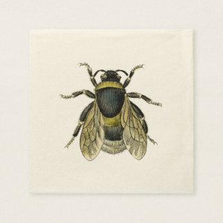 Bee antique illustration disposable napkins