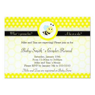 Bee Baby Shower Gender Reveal Polka Dot Card