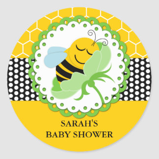 Bee Baby Shower Personalized Stickers