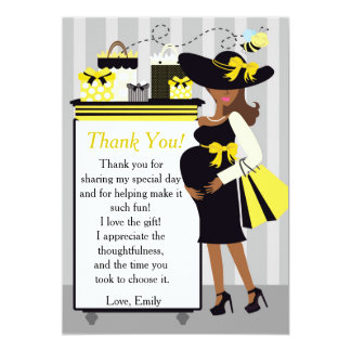"Bee Baby Shower Thank You Card Gender Reveal 5"" X 7"" Invitation Card"