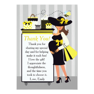 Bee Baby Shower Thank You Card Pregnant Woman
