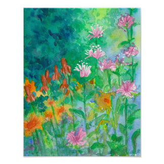 Bee Balm Pink Watercolor Flower Garden Poster