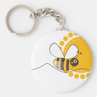 Bee Basic Round Button Keychain