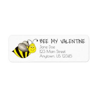 Bee Be My Valentine Valentine's Day Address Labels