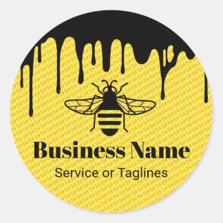 Bee Beekeeping Fresh Honey Apiary Black Drips Classic Round Sticker