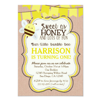 Bee Birthday Invitation for boy or girl