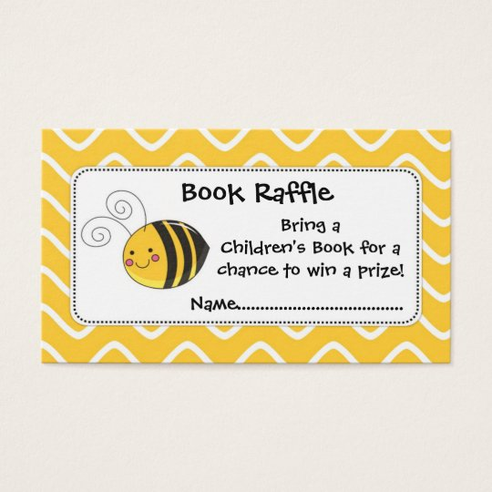 Bee Book Raffle Tickets, Baby Shower Game Business Card