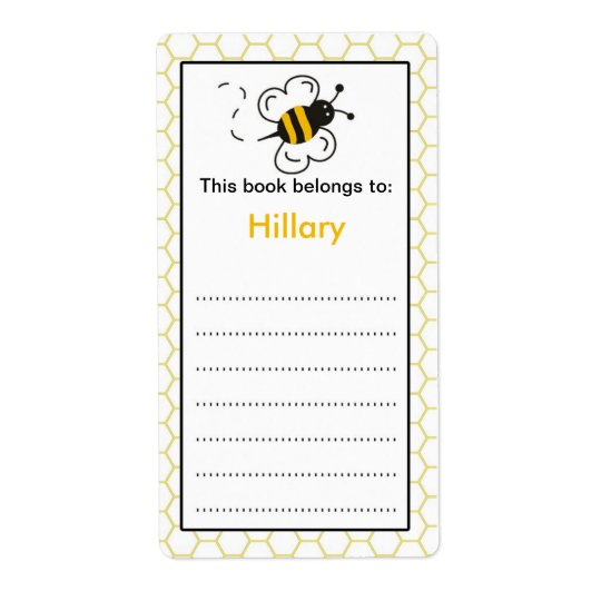 Bee Bookplate label for school books Shipping Label