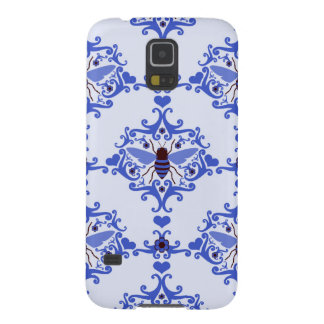 Bee bumblebee blue damask vintage insect pattern galaxy s5 case