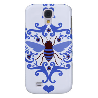 Bee bumblebee blue damask vintage insect pattern galaxy s4 covers