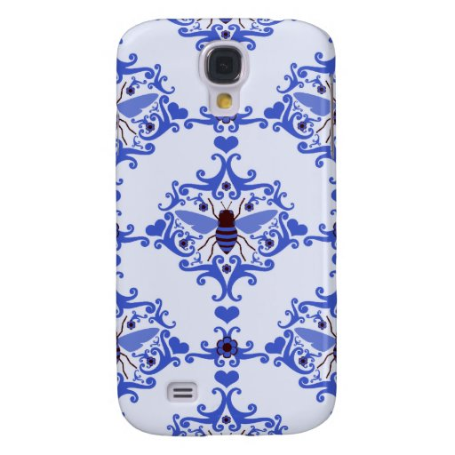 Bee bumblebee blue damask vintage insect pattern samsung galaxy s4 cover
