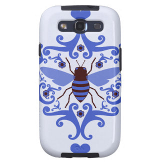 Bee bumblebee blue damask vintage insect pattern samsung galaxy s3 covers