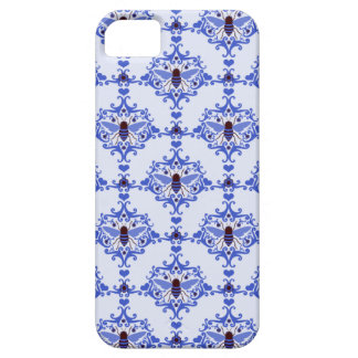 Bee bumblebee blue damask vintage insect pattern iPhone 5 cover