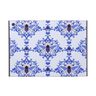 Bee bumblebee blue damask wallpaper pattern case for iPad mini
