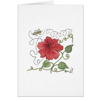 Bee Buzzing Hibuscus Blank Note Card
