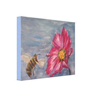 Bee buzzing on a prairie wildflower in the garden canvas print