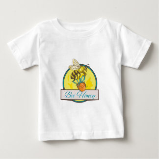 Bee Carrying Honey Pot Circle Drawing Baby T-Shirt