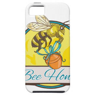 Bee Carrying Honey Pot Circle Drawing iPhone 5 Covers