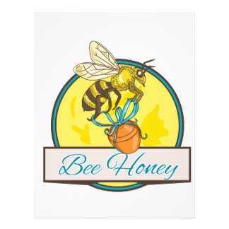 Bee Carrying Honey Pot Circle Drawing Letterhead