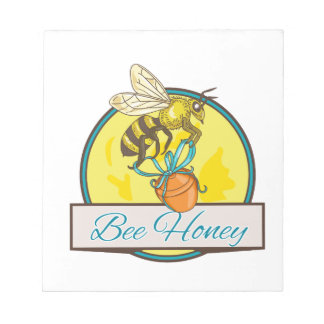Bee Carrying Honey Pot Circle Drawing Notepad