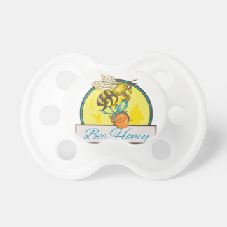 Bee Carrying Honey Pot Circle Drawing Pacifier