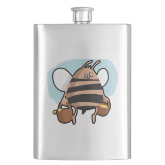 Bee cartoon hip flask