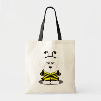 """Bee""chon Whimsical Bichon Frise Bumble Bee Tote Bag"