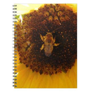 Bee Climbing A Sunflower Note Book