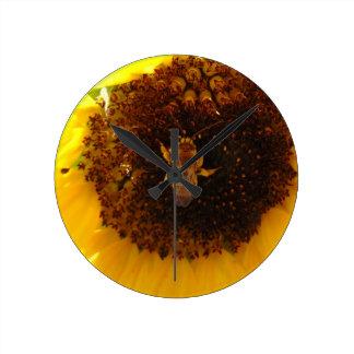 Bee Climbing A Sunflower Wallclocks