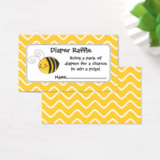 Bee Diaper Raffle Tickets, Yellow and Black Business Card
