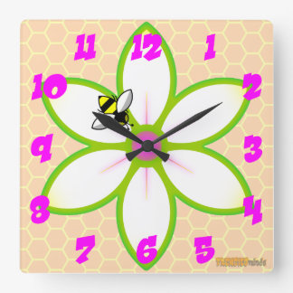 Bee, Flower Honeycome Square Wall Clock