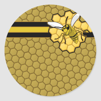 Bee Flying Away From Honeycomb Classic Round Sticker