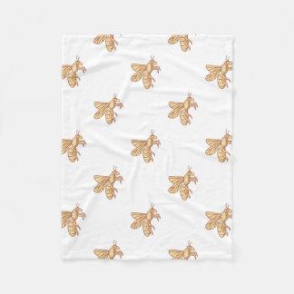 Bee Flying Mono Line Fleece Blanket
