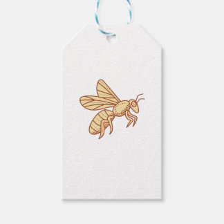 Bee Flying Mono Line Gift Tags