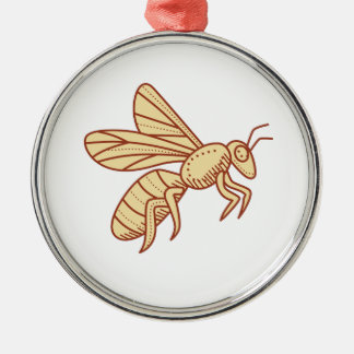 Bee Flying Mono Line Metal Ornament