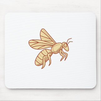 Bee Flying Mono Line Mouse Pad