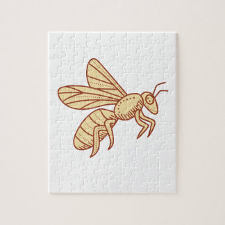 Bee Flying Mono Line Puzzles
